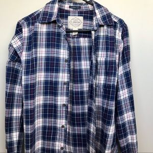 St johns bay womens blue and white flannel shirt